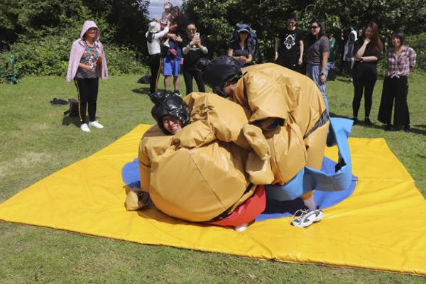 activities gallery stag and hen party participants sumo wrestling in giant suits